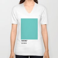 pantone V-neck T-shirts featuring Pantone Turquoise by Mariana Nabas
