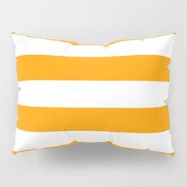 Bright Mango Mojito and White Wide Horizontal Cabana Tent Stripe Pillow Sham