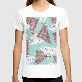 Rose Gold Glitter Marble Geometric Triangles Teal T-shirt