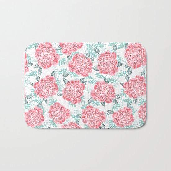 Peony flowers white pink and green trendy girly floral bouquet painted flowers botanical pattern Bath Mat