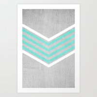silver Art Prints featuring Teal and White Chevron on Silver Grey Wood by Tangerine-Tane