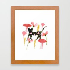 Chat & Champignons Framed Art Print