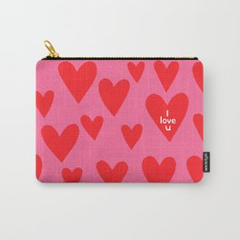 I love u. (red hearts/pink background) Carry-All Pouch