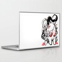 okami Laptop & iPad Skins featuring Chibi Amaterasu Okami I by Rubis Firenos