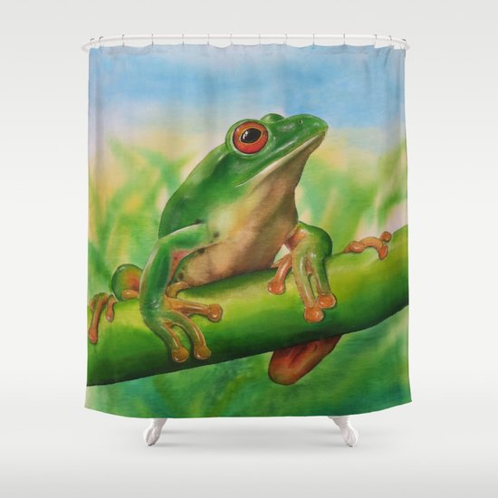 Green Treefrog Shower Curtain