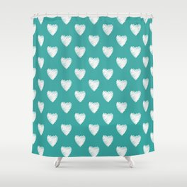 Pretty white love hearts on Teal Shower Curtain