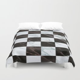 Zig zag checkered pattern with marbling Duvet Cover