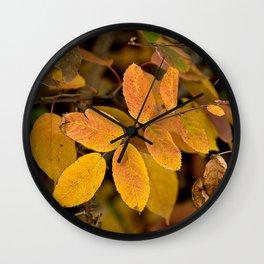Yellow Fall Roses Wall Clock