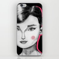 audrey hepburn iPhone & iPod Skins featuring Audrey Hepburn by Maripili