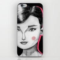 hepburn iPhone & iPod Skins featuring Audrey Hepburn by Maripili