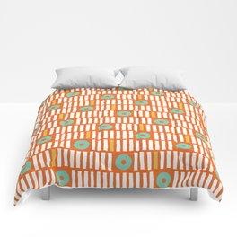 Geometrical abstract orange white turquoise stripes polka dots Comforters