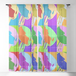 Poster with grilled olive with oil drop on the fork in pop art style Sheer Curtain