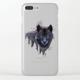 Wolf watercolor, Watercolor Wolf, Watercolor animal, Wolf portrait, Woodland animal Clear iPhone Case