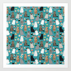 Cat Sushi pattern by pet friendly cute cat gifts for pet lovers foodies kitchen Art Print