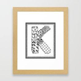 Zentangle K Monogram Alphabet initial Framed Art Print