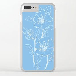 Blue Glass Floral Tile Clear iPhone Case