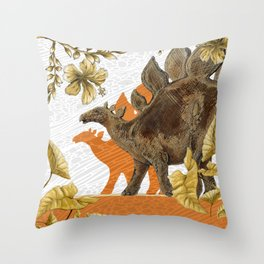Jurassic Stegosaurus: Orange & Gold Throw Pillow