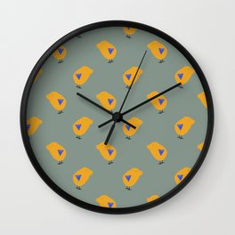 Sunny Family boy hand drawn home decor and textile design kids pattern on olive Wall Clock