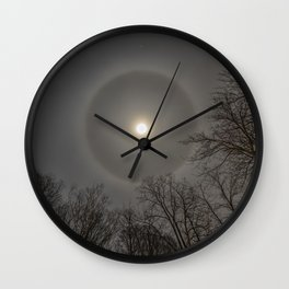 Moon Halo in the forest Wall Clock