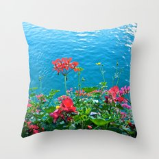 Chapel Bridge Flowers Throw Pillow