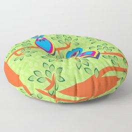 Tropical birds on trees Floor Pillow