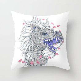 White Chinese dragon Throw Pillow