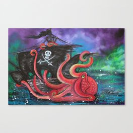 A Pirates Tale - Attack Of The Mutant Octopus Canvas Print