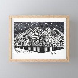 """High Peaks"" Hand-Drawn Adirondacks by Dark Mountain Arts Framed Mini Art Print"