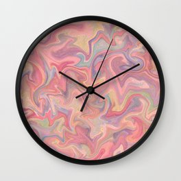 Pastel Liquid in Water with Raw Gold Wall Clock