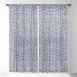 Hand Knit Zoom Navy Sheer Curtain