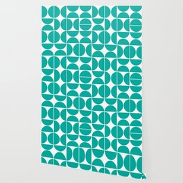 Mid Century Modern Geometric 04 Turquoise Wallpaper