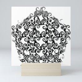 Curlicue Pentagon Black On White Mini Art Print