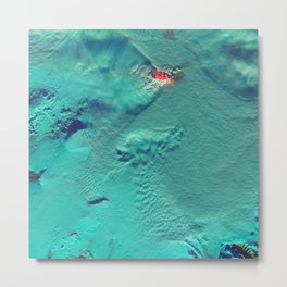Plumes and Clouds Stand Off Over Holuhraun Lava Field (false color with shortwave infrared) | Spacer Collection Metal Print