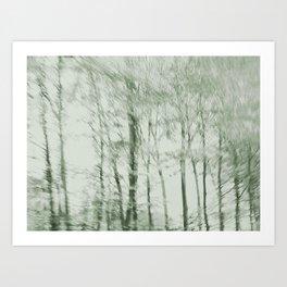 Windy woods (green) Art Print