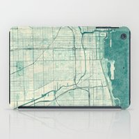 chicago map iPad Cases featuring Chicago Map Blue Vintage by City Art Posters