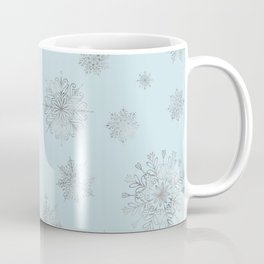 Assorted Silver Snowflakes On Light Blue Background Coffee Mug