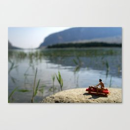 Suntan lotion and relax on the lake. Canvas Print