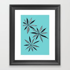Elegant Thin Flowers With Dots And Swirls Framed Art Print