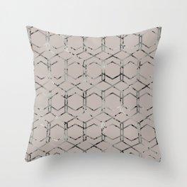 Silver Geometric Art Deco - Gatsby Taupe Throw Pillow