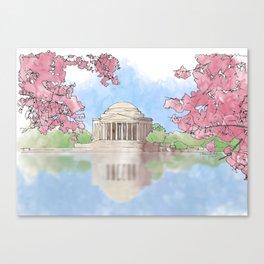 Cherry Blossom - Jefferson Memorial Canvas Print