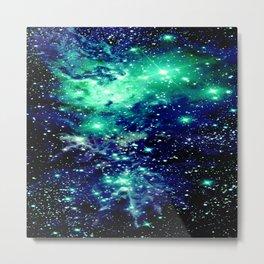 Fox Fur Nebula Galaxy Teal Midnight Blue Metal Print