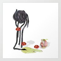 pasta Art Prints featuring Pasta by Gel Jamlang