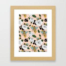 Bees on the flowers Framed Art Print