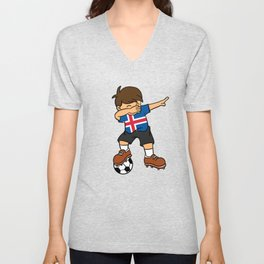 Iceland Soccer Ball Dabbing Kid Icelander Football 2018 Unisex V-Neck