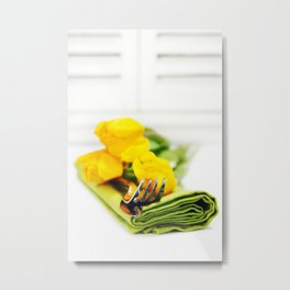 spring table settings with fresh tulips Metal Print