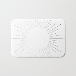 Sunburst Moonlight Silver on White Bath Mat