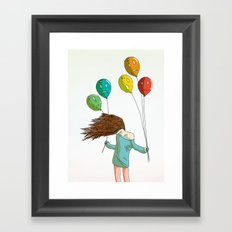 Baloons on wind Framed Art Print