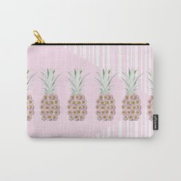 Floral Pineapple Stripes Pink Carry-All Pouch