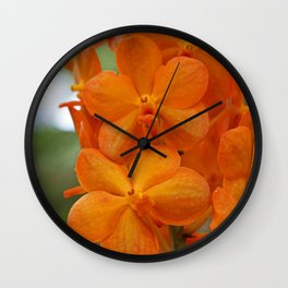 Orange Orchids Wall Clock