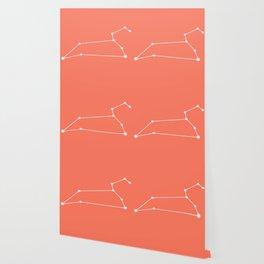 Leo Zodiac Constellation - Coral Red Wallpaper